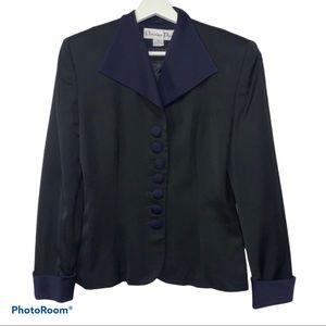 Christian Dior Black Blazer Blue Collar Cuffs Sz 6